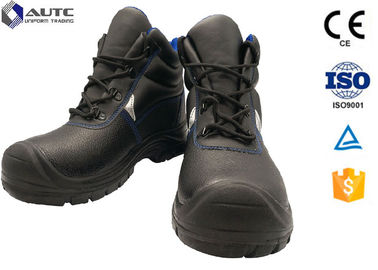 Construction Site Ppe Safety Boots , Slip On Steel Toe Boots Warehouse Black Leather